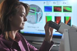 Elena Rozhkova studerar sätt som nanomaterial kan döda cancerceller. Bild: Argonne National Laboratory